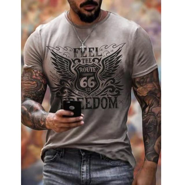 Vintage Route 66 Print Men's T-shirt 2