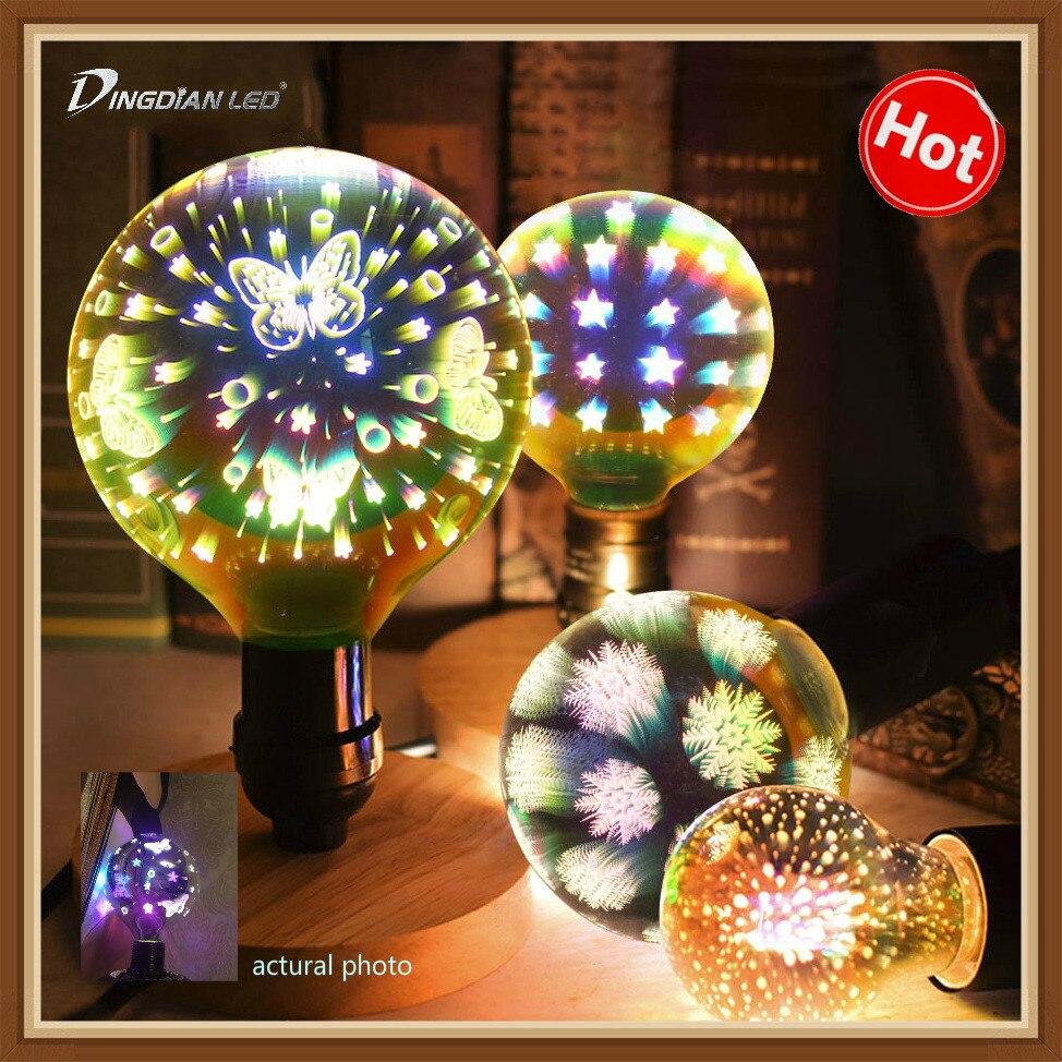 Kreative 3D Led-lampe A60 G95 G125 Feuerwerk Schmetterling Starry sky Schneeflocke Blenden Farbe Edison lampen E27 4W Weihnachten dekoration Licht