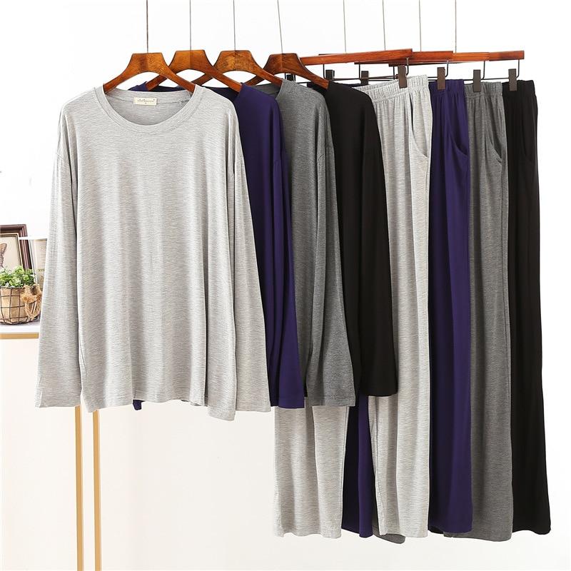 Японский новый стиль модальный весна и осень мужские пижамы с длинными рукавами свободные большие размеры домашний сервис костюм мужские пижамы комплект одежда для сна