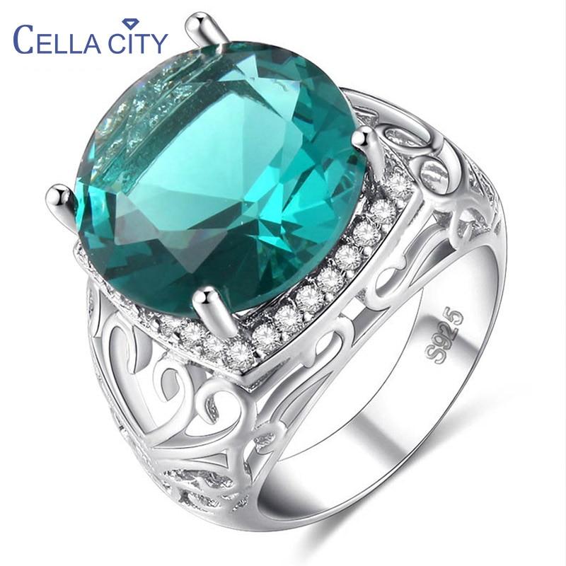 Cellacity duży zielony pierścień topaz dla kobiet luksusowy design srebro 925 biżuteria 14*14mm kamienie szlachetne akcesoria dla królowej bankietowej