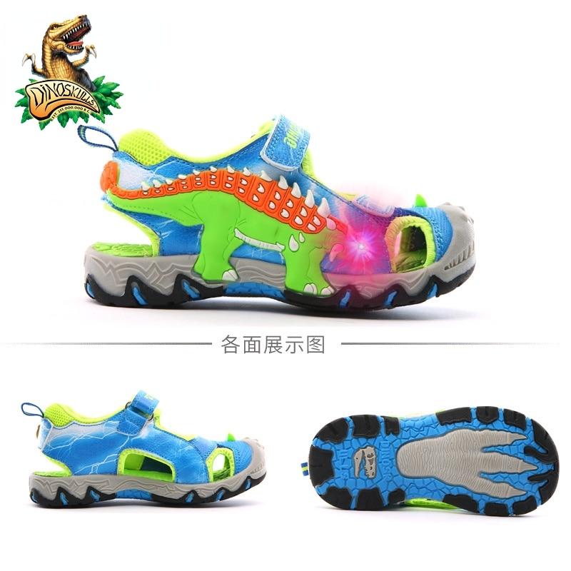 DINOSKULLS-صنادل صيفية للأطفال ، أحذية ديناصور مضيئة ، أحذية شاطئ LED ، جلد ، مطاطي ، مضاد للانزلاق ، أحذية أطفال #28-#34