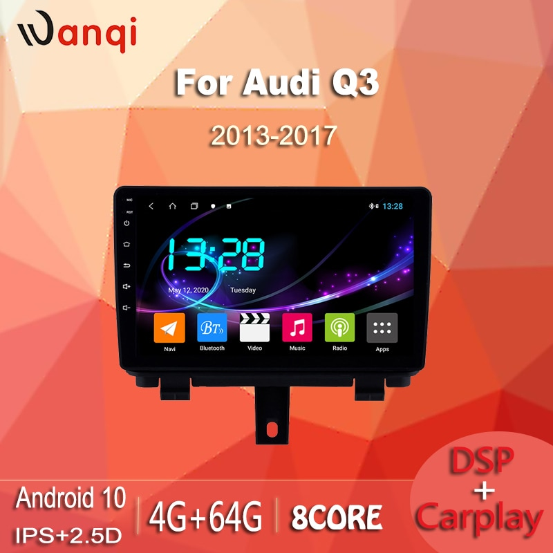 Carplay 4g + 64g de wanqi dsp 9 polegadas ips toque completo android 10 wifi carro dvd gps reprodutor multimídia para audi q3 2013-2017 bluetooth