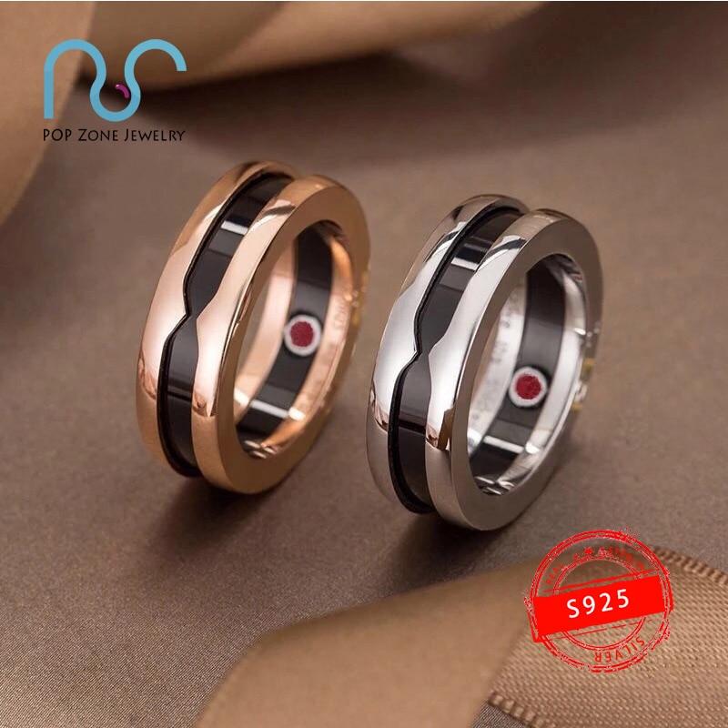 خاتم من الفضة الإسترليني 925 ماركة زيرو للأطفال سلسلة خواتم أسود أبيض سيراميك دوائر حمراء خاتم مجوهرات فاخرة أصلية بشعار