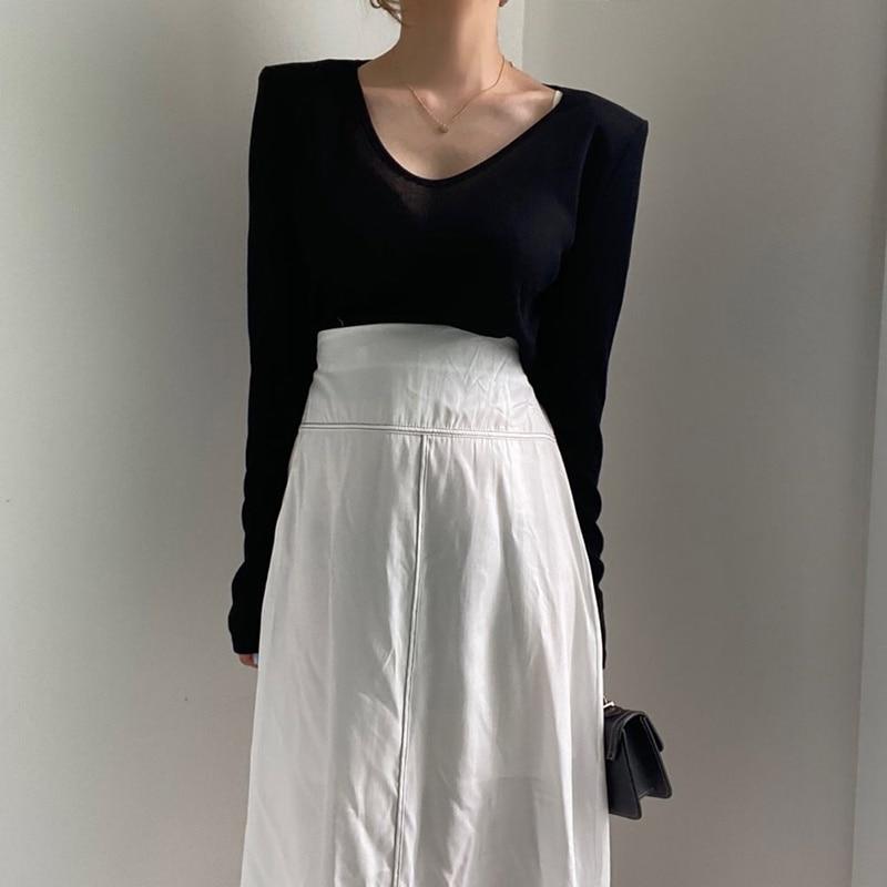 Summer New Style V-neck Slim Bottoming Shirt T-shirt Bright Line Design High Waist Skirt Women