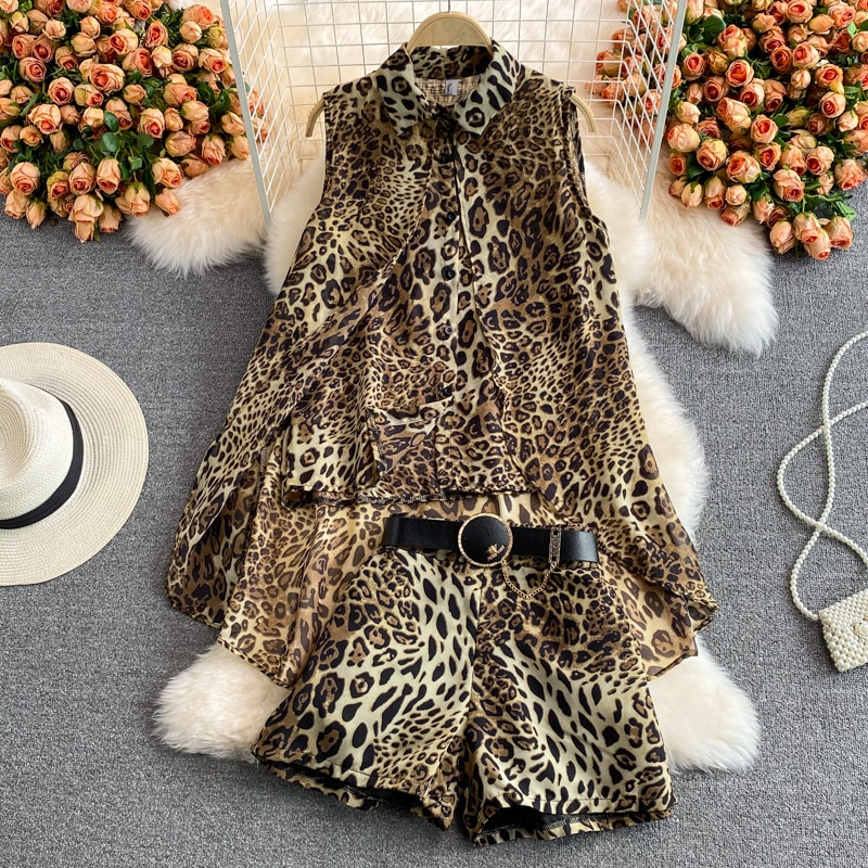 WEIHAOBANG 2021 Summer New Women's Sexy Shorts Set Ladys Loose Thin Shirt Sleeve Less Leopard Print Two Piec Female Suit