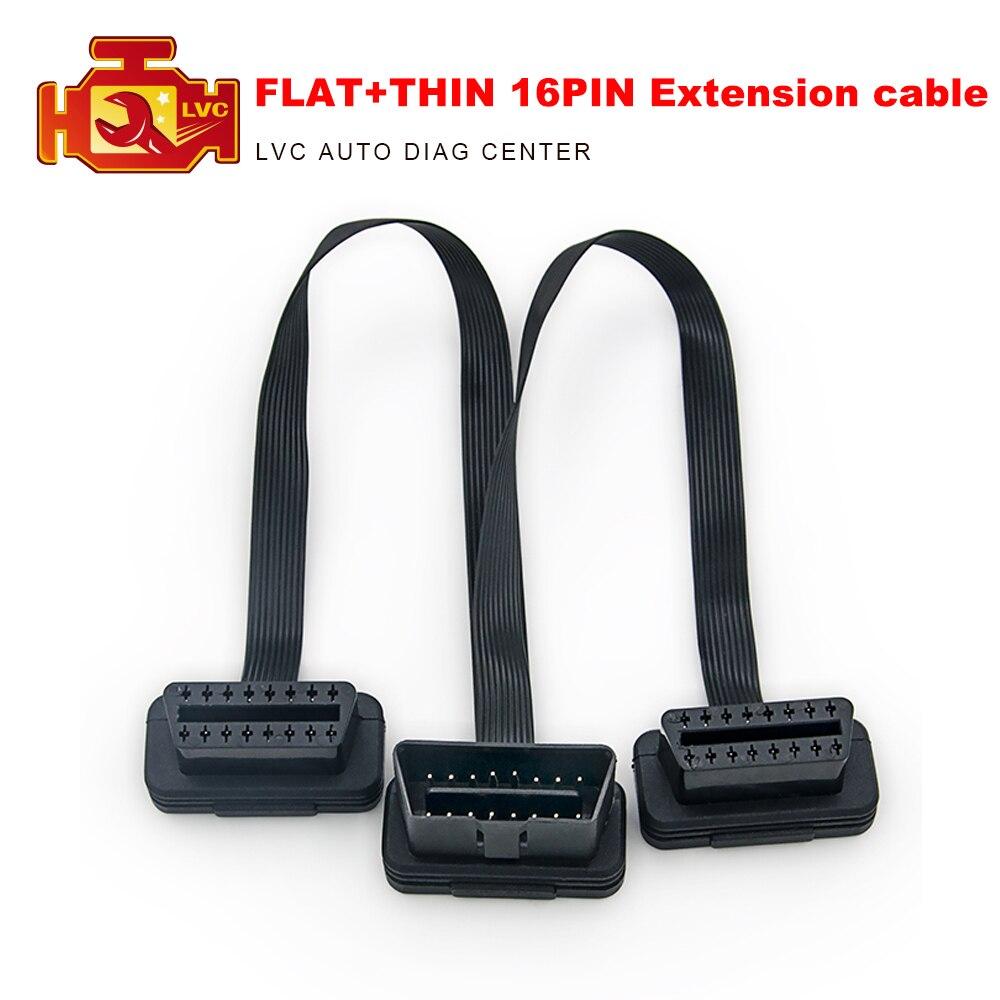 OBDII Extension 30CM Dual Connector Y Splitter OBD OBD2 16PIN Conexión macho a hembra plana + delgada como fideo ELM327