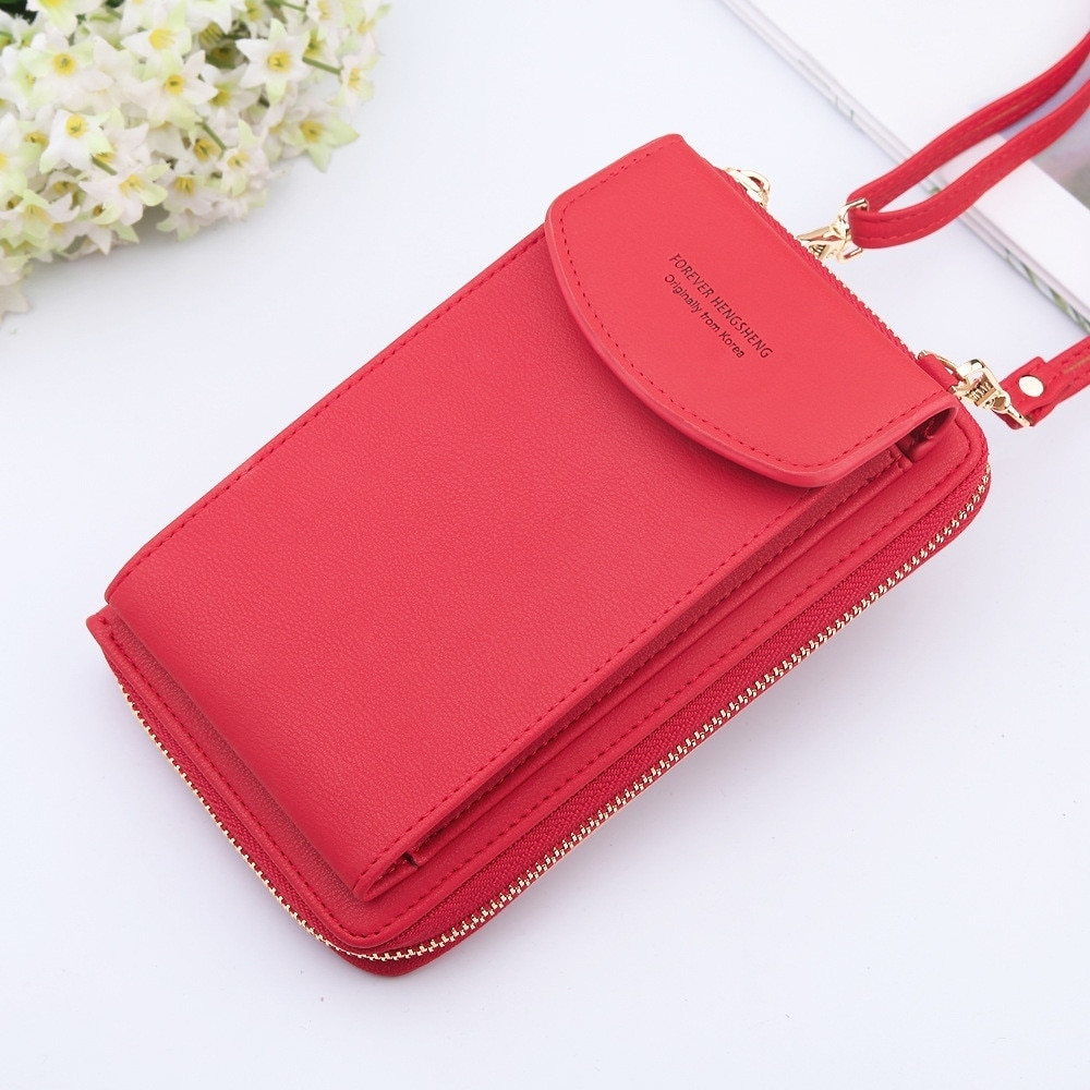 2021 Women Purses Solid Color Leather Shoulder Strap Bag Mobile Phone Big Card Holders Wallet Handba