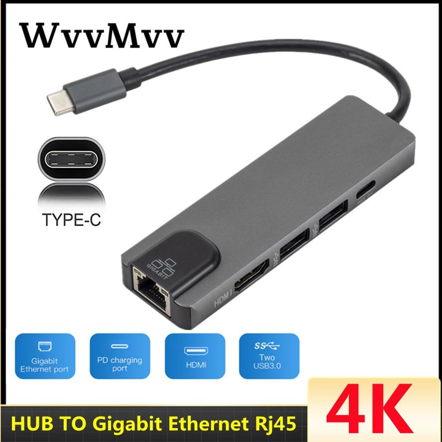 WVVMVV 4K USB3.0 نوع C Hub 5 منافذ متعددة USB C Hub إلى جيجابت إيثرنت Rj45 Lan محول لماك بوك Thunderbolt 3 USB-C شاحن