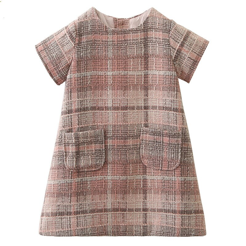 Meninas vestido novo outono inverno meninas roupas moda xadrez bolso design princesa vestido para a menina crianças vestido de festa robe fille
