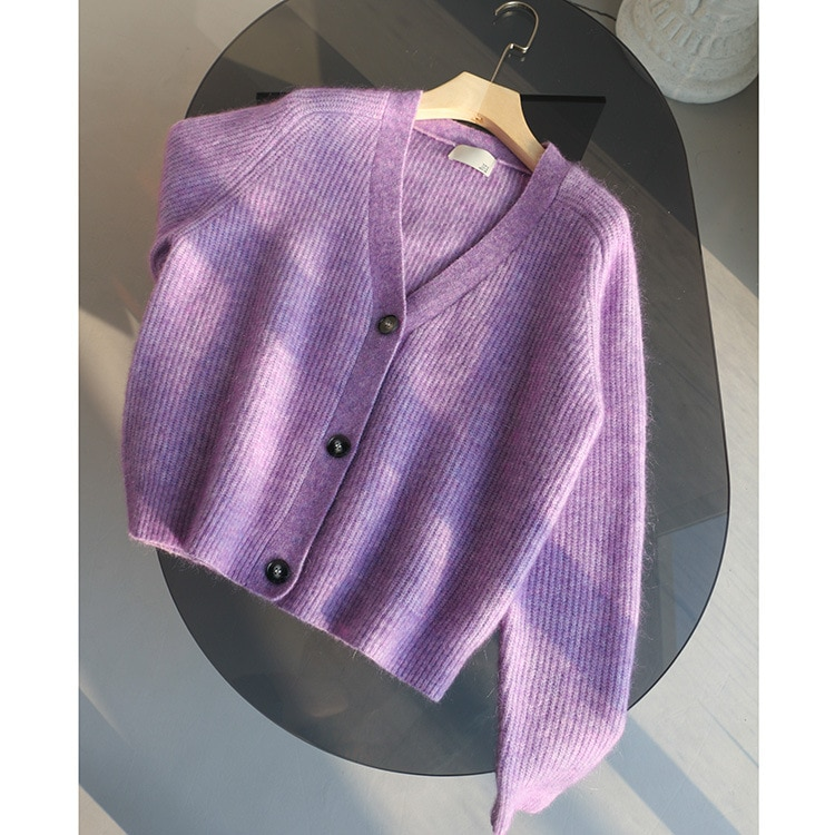 SHUCHAN Wool Mohair Spandex Acrylic V-Neck Cardigan Women Sweater High Street Dropshipping Fall Sweaters for Women enlarge