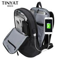 рюкзак мужской Мужской рюкзак для ноутбука с USB-портом TINYAT, рюкзак для ноутбука с диагональю 15,6 дюймов, открывается на 90 градусов, деловой рю...