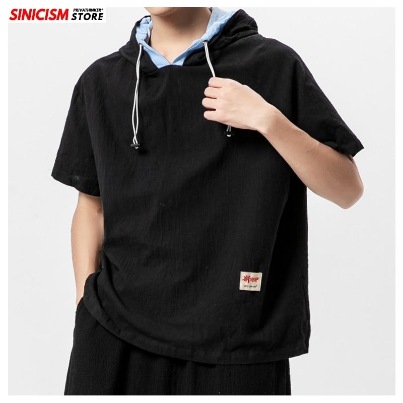 Tienda china nuevo 2020 hombres con capucha sólida camisetas de los hombres camisetas de verano suelto camisetas hombre falso 2 piezas ropa Tops de estilo chino