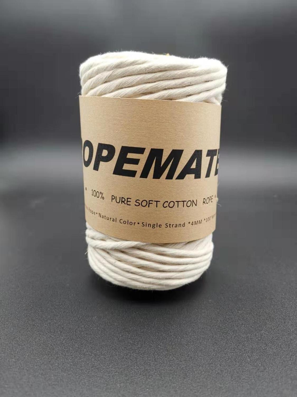 ROPEMATE cordón de algodón suave PREMIUM 4MM 100M - 1 hilo único-COLOR NATURAL