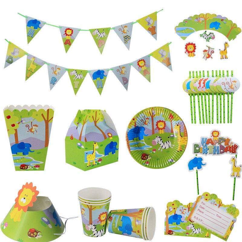 36 piezas decoración de la fiesta de cumpleaños de los niños Animal de la selva de papel ambiental pipeta, Partido de unicornio, paja de beber