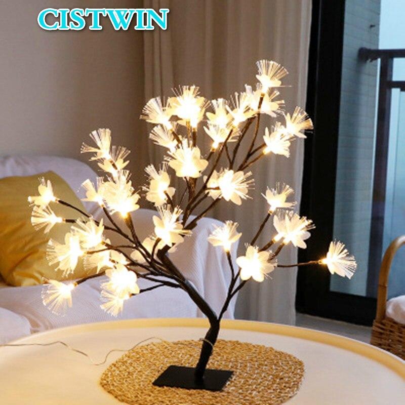 مصباح LED من الألياف البصرية على شكل زهرة الكرز ، إضاءة زخرفية داخلية ، مثالي لقضاء الإجازات ، والزفاف