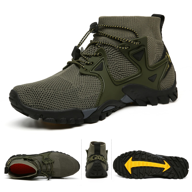 gomnear breathable mesh water shoes male outdoor swimming beach shoes big size anti skid sports trekking shoes summer sneakers New Mesh Breathable Hiking Shoes Size 36-47 Mens Sneakers Outdoor Trail Trekking Mountain Climbing Sports Shoes For Male Summer