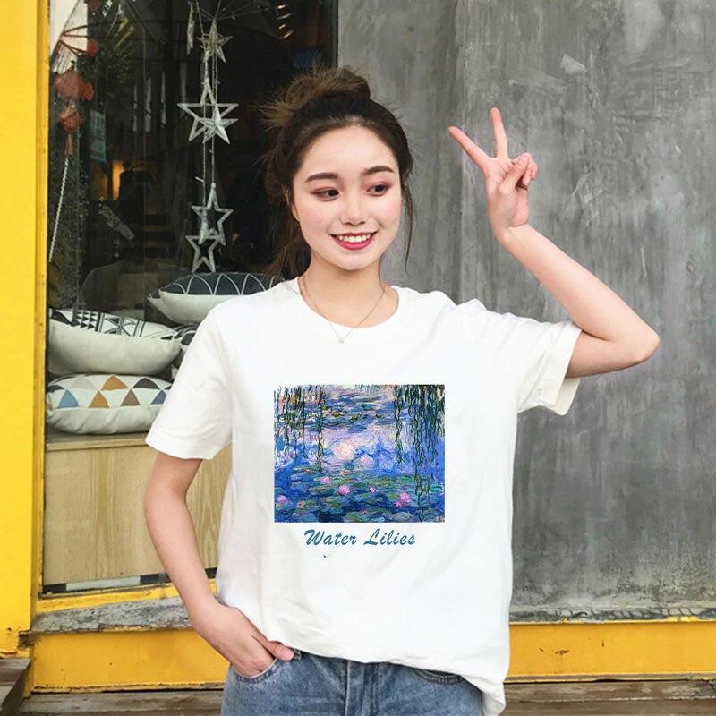 Pintura de Claude Monet de agua lirios, camisetas de verano para mujer, camisetas gráficas Tumblr, camisetas casuales de manga corta de arte estético