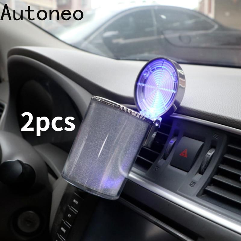 2pcs Car Ashtray with LED Light Cigarette Cigar Ashtray Container Ashtray Gas Bottle Smoke Cup Holde