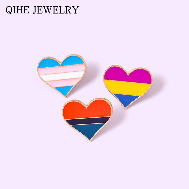 Orgullo LGBT Gay esmalte de corazón Pin bandera colorida insignia de corazón Bisexual broche de solapa al por mayor joyería de moda