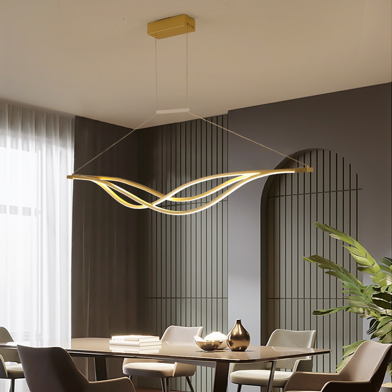 NEO GLeam Gold or Black Modern LED Chandelier Fixtures Luminaire For Kitchen Living Dining Room Cord Hanging Home Chandeliers