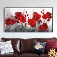 red poppy flower canvas poster print wall art painting picture on canvas flowers the wall for living room home decor cuadros