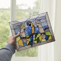 papagei anh%c3%a4nger dekoration stained glass window panel tracery 3 parrot acrylic home pendant handmade wall art room decoration