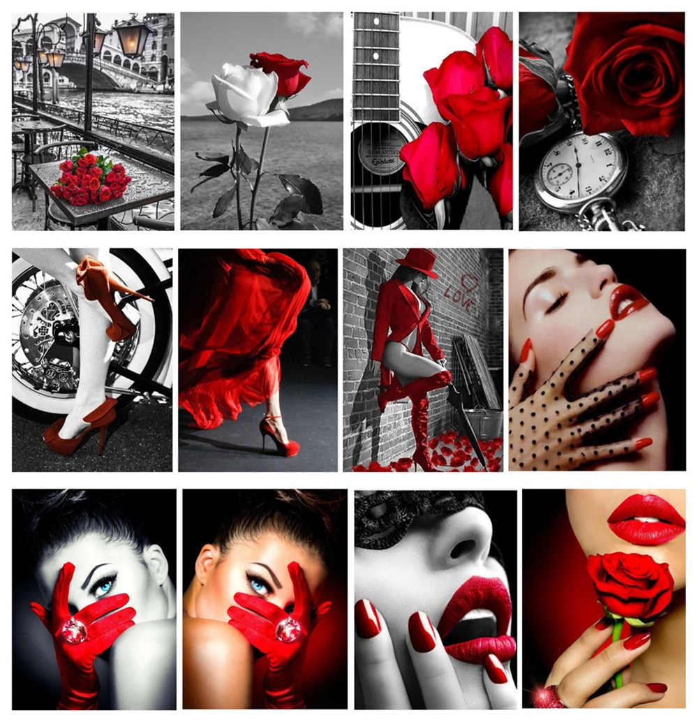 Diamond Embroidery Red lips girl rose 5D Diamond Painting Full Round Diamond Mosaic Full Set Rhinestone Picture Home Decor