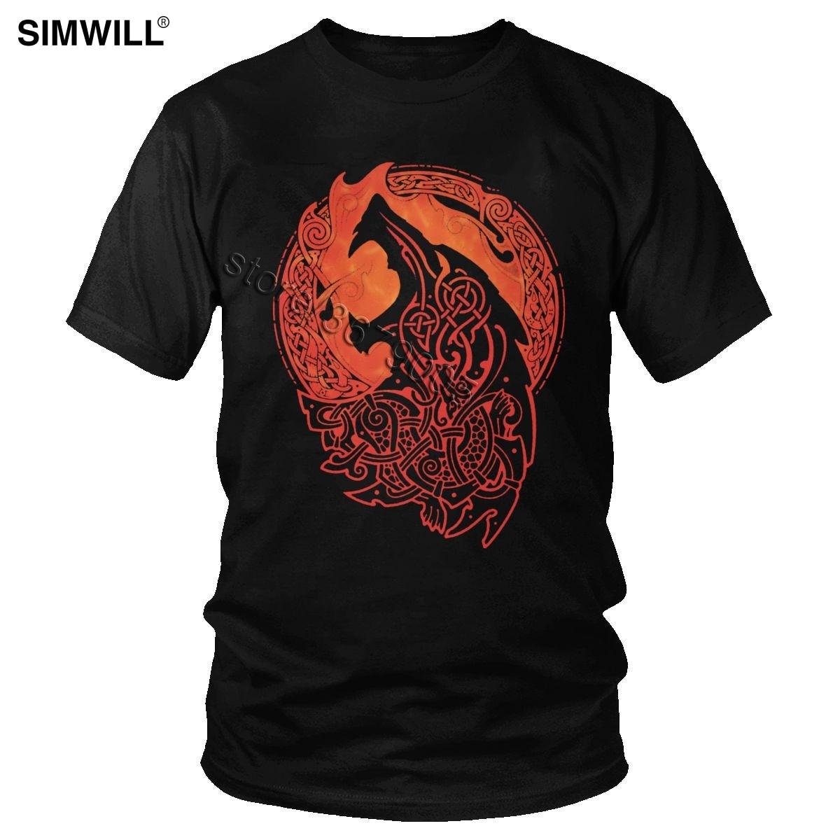 Валгаллы Odin Фенрир футболка городская мода хлопок Nordic футболка mythology Для мужчин короткий рукав Loki для сына, волка, футболка