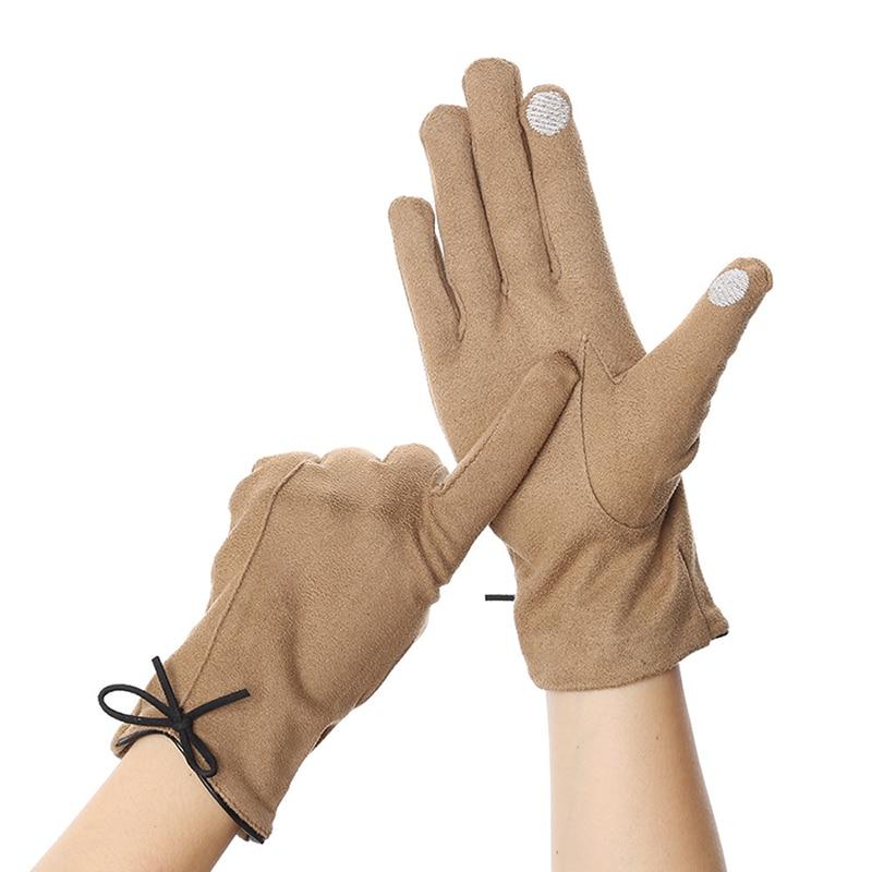 Элегантные винтажные перчатки, женские зимние перчатки для вождения с сенсорным экраном, теплые рукавицы, рукавицы с полным пальцем, женски...