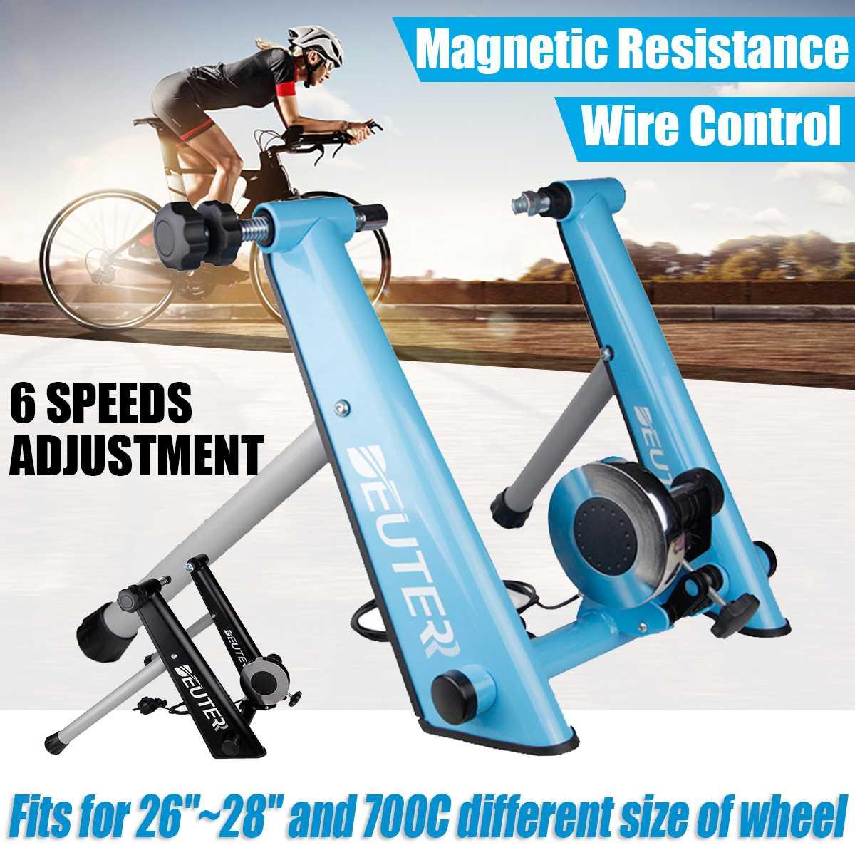 Entrenamiento para el hogar, bicicleta de ejercicios para interiores, entrenador de resistencia magnética de 6 velocidades, bicicleta de montaña o carretera
