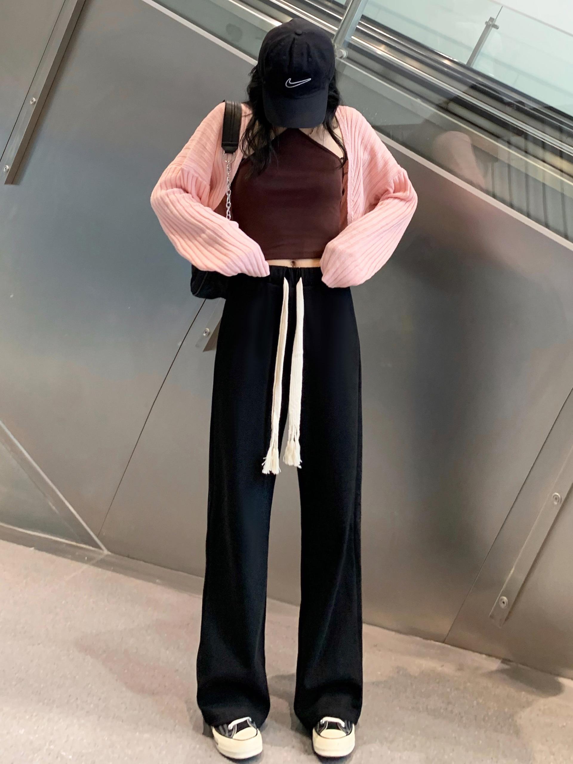 Брюки женские с завязкой, прямые свободные трикотажные штаны с широкими штанинами, с завышенной талией, в стиле кэжуал, для ленивых, на весну...