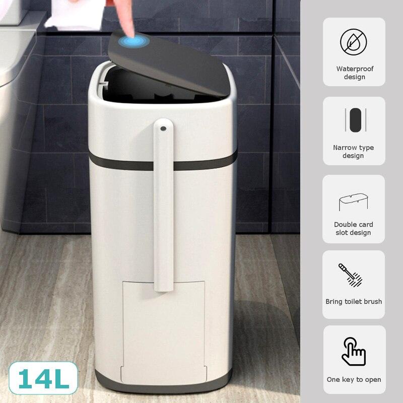 Lata de Lixo do Toalete com Tampa Impermeável e Odor-resistente Escova de Toalete Estreito Entalhe Waste Doméstico Lixo Pode Integrado 14l Bin