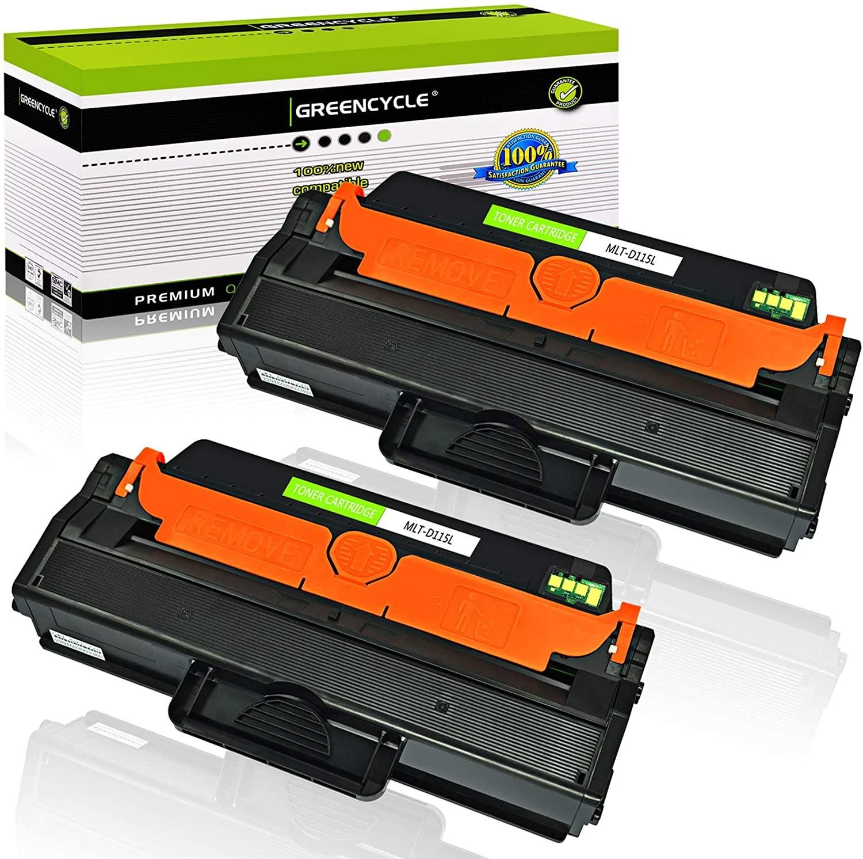 GREENCYCLE 2 Pack MLT-D115L D115L Black High Yield Toner Cartridge Compatible for Samsung Xpress SL-M2830DW SL-M2870FW SL-M2670