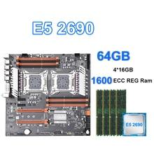 LGA 2011 X79 double ensemble de carte mère de bureau PCIe x16 M.2 avec E5 2690 et 4*16GB = 64GB 1600MHZ ECC REG RAM