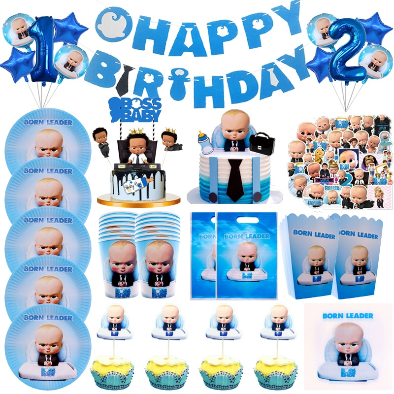 Baby Boss Theme Birthday Party Decorations Cup Plate Napkins Cake Topper Balloons Disposable Tableware Baby Shower Supplies