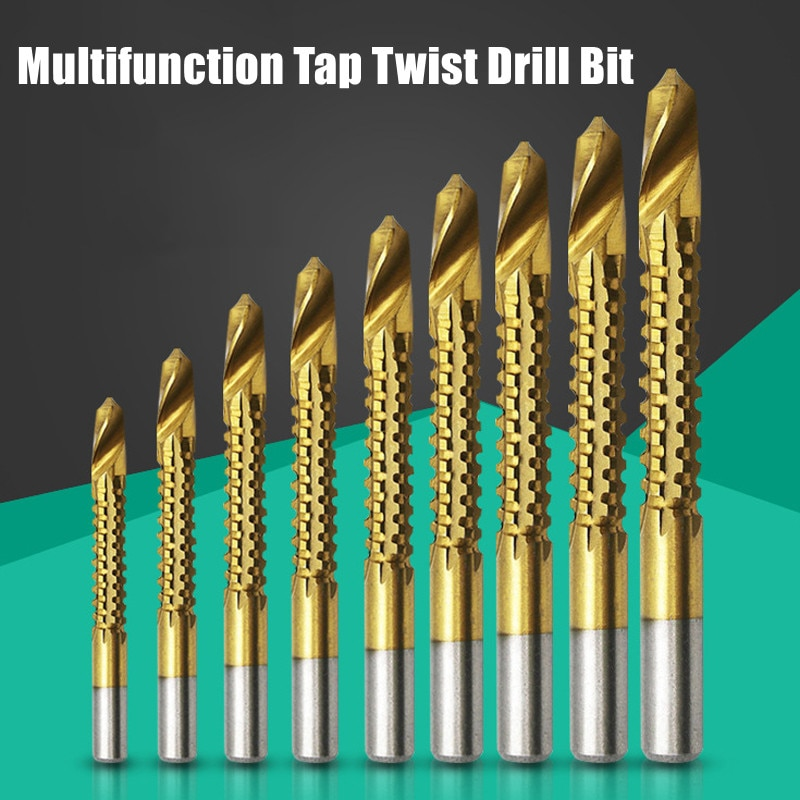 6pcs/lot Spiral Screw Metric Composite Tap Drill Multi-function Twist Bit Set HSS Cobalt Punching Slotting Bits