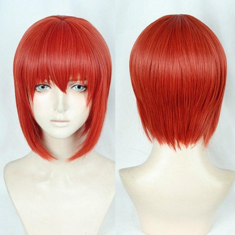 Nouvelle perruque Cosplay Mahoutsukai no Yome Chise Hatori perruque courte Orange rouge cheveux synthétiques perruque Cosplay + piste + casquette