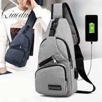 Qiaoduo Men's Shoulder Bags USB Charging Crossbody Bags Male Anti Theft Shoulder Bag School Casual Short Trip Travel Bag 2020