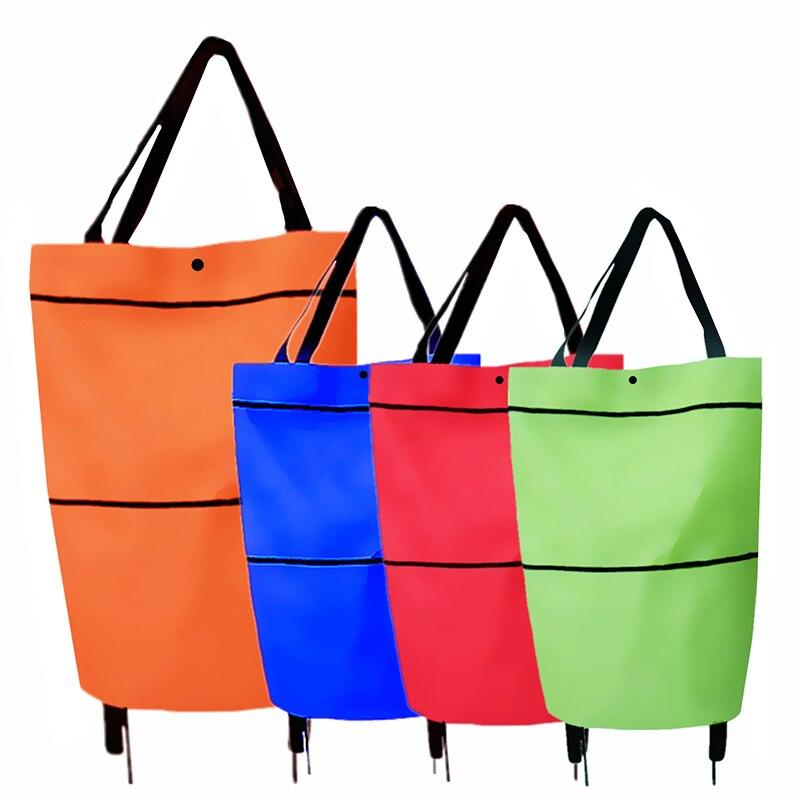Bolsa plegable para la compra de carrito de tirón con ruedas de bolsos para compras reutilizables de bolsas de almacenamiento para