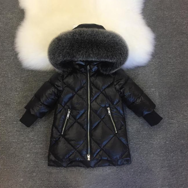 2021 checkered black winter baby girls jackets real fur hooded warm boy snow coat outdoor windproof children outerwear clothes enlarge
