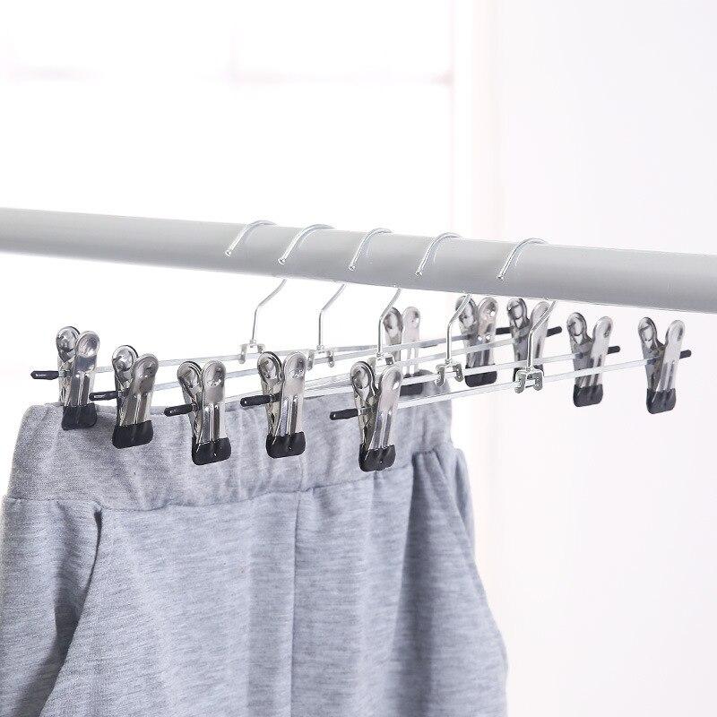 1 pçs novo clipe de aço inoxidável secagem rack armazenamento cabide calças saia roupas recipiente suporte clipe ajustável