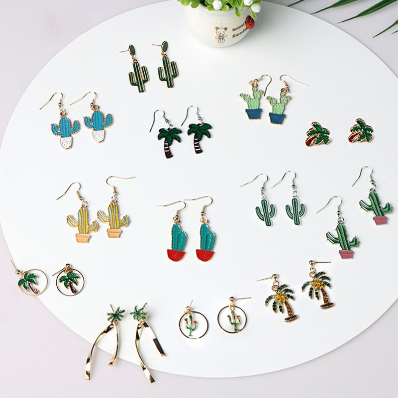 Creative Green Plant Cactus Coconut Tree Metal Pendant Earrings For Women Girls Fresh Bonsai Pop Element Fashion Design Jewelry