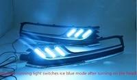 osmrk led drl daytime running light for volkswagen passat b7 with moving yellow turn signals and blue night running light