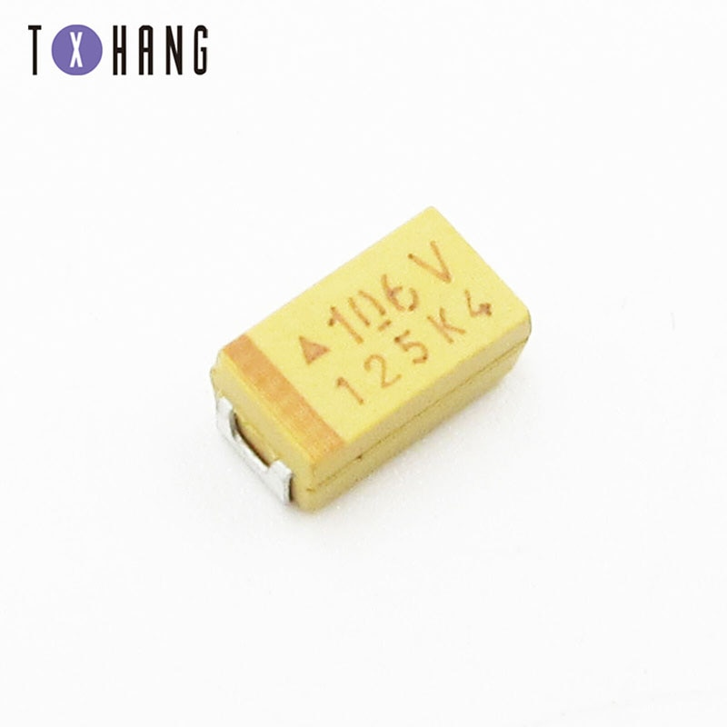 10 pces c6032 tipo c capacitor tantal smd c 6032 chip 10uf 35v ahs diy eletrônica