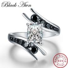 [Zwart Awn] Fijne Sieraden 3.9 Gram 100% Echt 925 Sterling Zilver Rij Zwarte Steen Engagement Ringen Voor Vrouwen bague C299