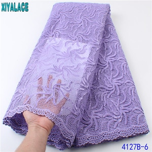 Sequin African Lace Fabric 5 Yards 2021 Dubai Lace Fabric Tissue Net Lace French Embroidered Lace with for Lilac Dresses KS4127B