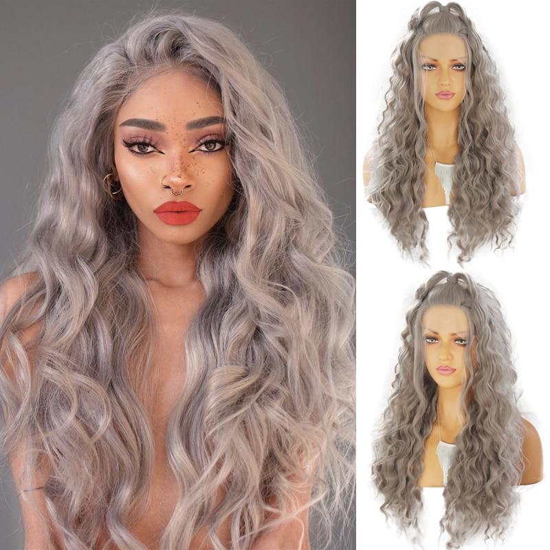 Peluca de rizos largos carisma gris plateado pelo de alta temperatura peluca con malla frontal sintética con pelucas naturales para mujer