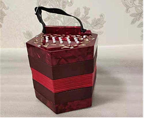 Concertina 30-key diatonic wood accordion (Red wine) enlarge