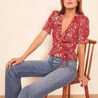 blouses shirt chiffon summer floral print female v neck ruffle short sleeve cadigans vintage blusa shirts womens sexy tops