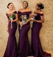 purple mermaid bridesmaid dresses 2020 new hot african women off shoulder vestidos long sweep train wedding party dress formal
